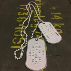 Dog Tag set, custom made, vintage white