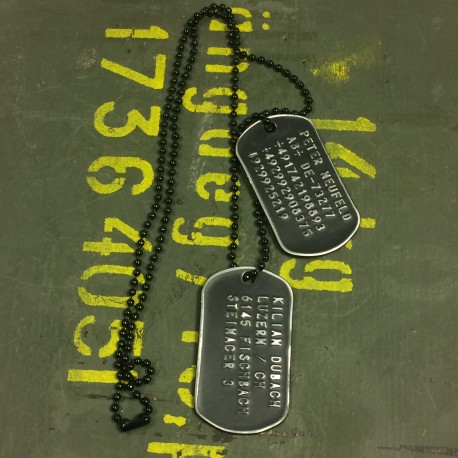 Dog Tag set, custom made, vintage white