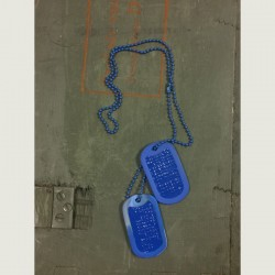 Dog Tag set, custom made, blue