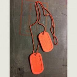 Dog Tag set, custom made, orange
